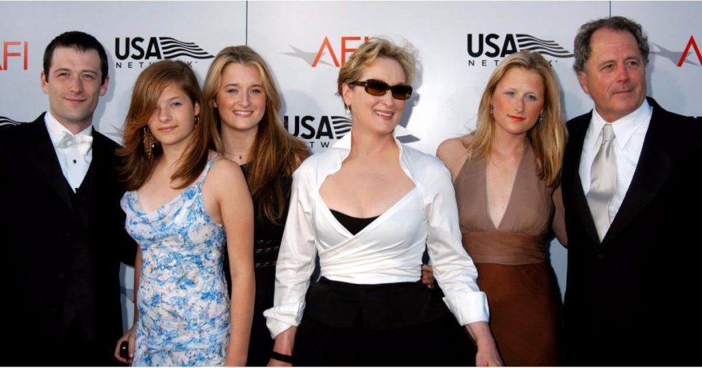 Meryl Streep with her husband, Don, and children